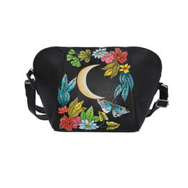 SUKRITI 100% Genuine Leather Moonlight in Nature Hand Painted Crossbody Bag (28x9x20cm) with Adjusta