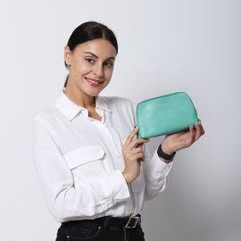 SENCILLEZ 100% Genuine Leather Cosmetic Bag (Size 19x11x4cm) - Mint Green