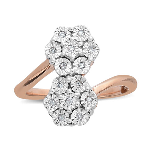 Diamond (Rnd) Flower Ring in Rose Gold and Platinum Overlay Sterling Silver 0.100 Ct.