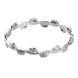 Diamond Accent Bangle (Size 8) in Platinum Plated