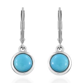 SLEEPING BEAUTY TURQUOISE (2.50 Ct) Platinum Overlay Sterling Silver Earring  2.500  Ct.