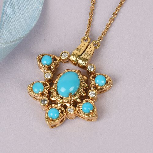 Arizona Sleeping Beauty Turquoise and Natural Cambodian Zircon Necklace (Size 18) in 14K Gold Overla