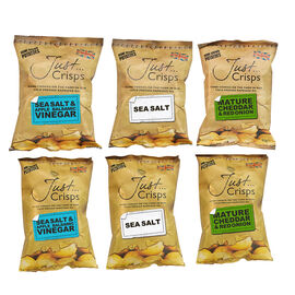 Just Crisps Variety Traditional 6x150g (2 x Sea Salt, 2 x Sea Salt and Apple Balsamic Vinegar, 2 x M