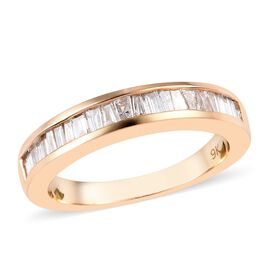 9K Yellow Gold SGL Certified Diamond (I2-I3/G-H) Half Eternity Ring 0.50 Ct, Gold wt 3.27 Gms