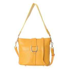 100% Genuine Leather Yellow Colour Crossbody Bag with External Zipper Pocket and Removable Shoulder