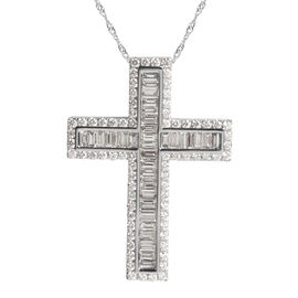 ILIANA 2.05 Ct Diamond Cross Pendant With Chain in 18K White Gold 5.9 Grams IGI Certified SI GH