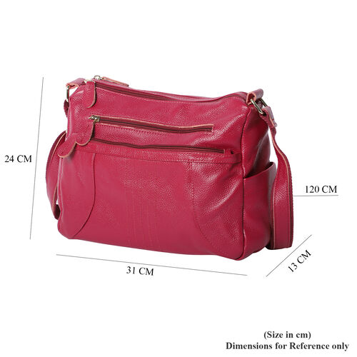 100% Genuine Leather Crossbody Bag with Multiple Pockets and Zipper Closure (Size 31x13x24 Cm) - Plum Colour