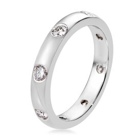 RHAPSODY 950 Platinum IGI Certified Diamond (Rnd) (E-F/VS) Band Ring 0.50 Ct, Platinum wt 4.90 Gms
