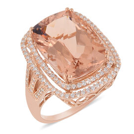 ILIANA 18K Rose Gold AAA Marropino Morganite (Cush 18x13 mm), Diamond (SI/G-H) Ring 14.36 Ct.