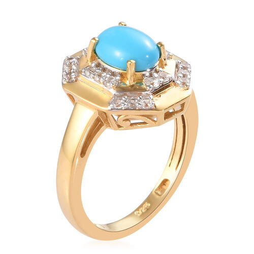 Arizona Sleeping Beauty Turquoise and Natural Cambodian Zircon Ring in 14K Gold Overlay Sterling Silver 1.43 Ct.