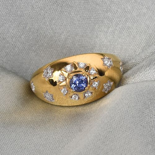 Zircon, Tanzanite. Fancy Ring in 14K Gold Overlay Sterling Silver 0.10 ct  0.500  Ct.