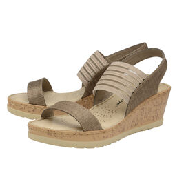 Dunlop Missy Elastic Wedge Heeled Sandals (Size 6) - Taupe