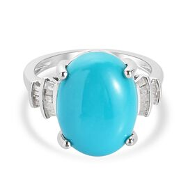 Collectors Edition- Arizona Sleeping Beauty Turquoise (Ovl 16x12 mm) and White Diamond Ring in Plati
