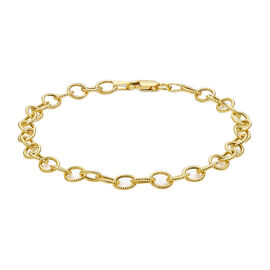 Italian Made Close Out- 9K Yellow Gold Textured Belcher Bracelet (Size - 7.5) with Lobster Clasp