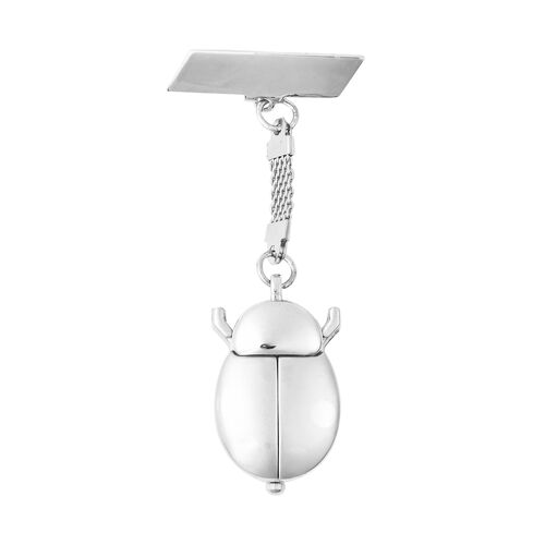 STRADA Japanese Movement Water Resistant Beetle Shaped Pocket Watch in Silver Tone