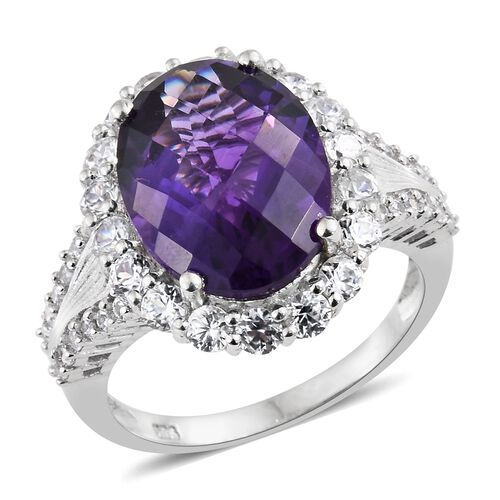 CHECKERBOARD CUT Amethyst (Ovl 8.50 Ct), Natural Cambodian Zircon Ring in Platinum Overlay Sterling