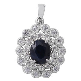 Rare Size Madagascar Blue Sapphire (Ovl 4.41 Ct), Natural Cambodian White Zircon Pendant in Rhodium Overlay Sterling Silver 7.490 Ct.