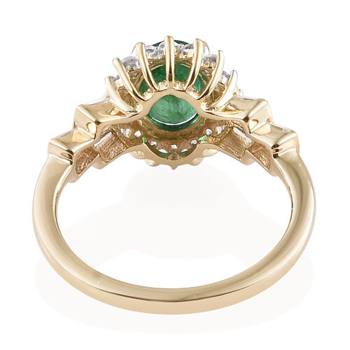 9K Yellow Gold AAA Kagem Zambian Emerald (Ovl 8x6 mm), Natural Cambodian Zircon Ring 2.000 Ct.