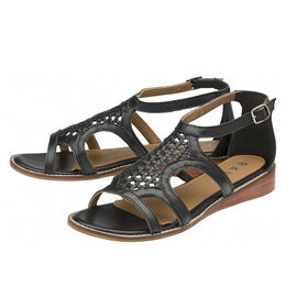 Ravel Cardwell Leather Wedge Sandals in Black Colour