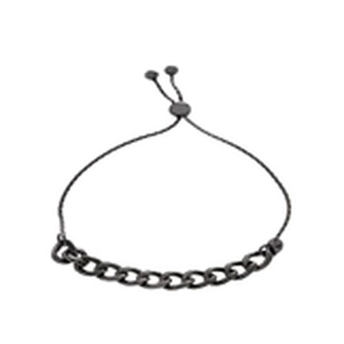 JCK Vegas Collection Black Rhodium Plated Sterling Silver Adjustable Curb Bracelet (Size 6 to 7), Silver wt 4.80 Gms.