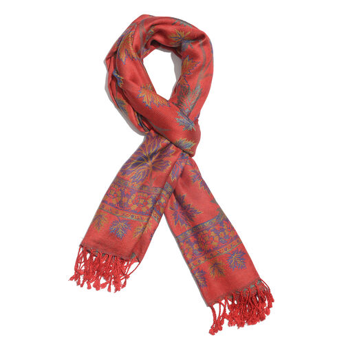 Red, Blue and Multi Colour Maple Leaf Pattern Jacquard Scarf (Size 190x70 Cm)