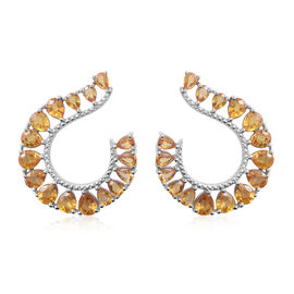 9 Carat Yellow Sapphire Earrings in Rhodium Plated Sterling Silver 5.50 Gms