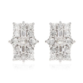 9K Yellow Gold SGL Certified Natural Diamond (I3/G-H) Boat Cluster Stud Earrings (with Push Back) 1.