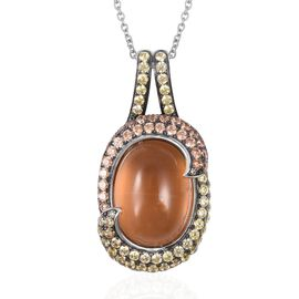 Simulated Peach Moonstone and Simulated Diamond Pendant With Chain in Two Tone
