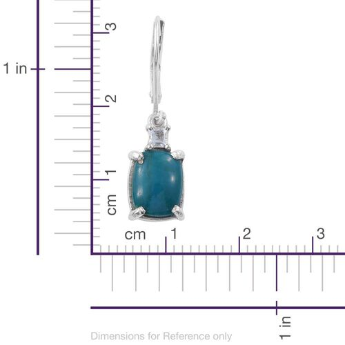 Natural Rare Opalina (Cush), Espirito Santo Aquamarine Lever Back Earrings in Platinum Overlay Sterling Silver 5.500 Ct.