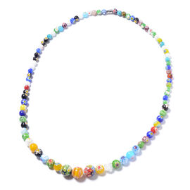 Multi Colour Murano Style Glass Beaded Necklace with Magnetic Lock 30 Inch