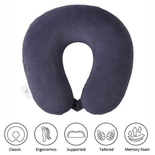 Stylish and Comfortable Memory Foam Ergonomic Neck Pillow with Snap Closure (Size:30x30Cm) - Navy