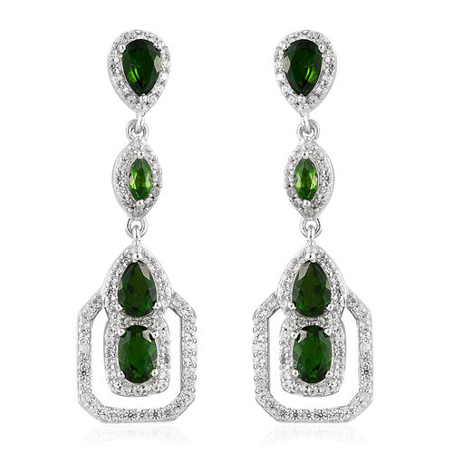 Russian Diopside (Ovl and Pear), Natural Cambodian Zircon Dangle Earrings (With Push Back) in Platinum Overlay Sterling Silver 4.750 Ct, Number Of Gemstone 174