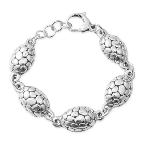 Hong Kong Close Out- Rhodium Overlay Sterling Silver Bracelet (Size 7.75), Silver wt: 18.35 Gms.