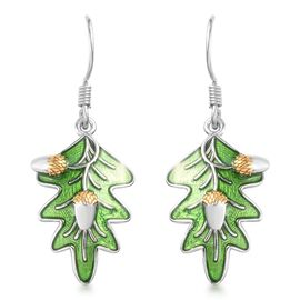 Platinum and Yellow Gold Overlay Sterling Silver Enamelled Leaf Earrings