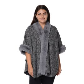 Boucle Blanket Wrap with Faux Fur On Collar and Sleeves (Size 100x75 Cm) - Boucle Black
