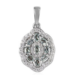 1 Carat AA Narsipatnam Alexandrite and Zircon Cluster Pendant in Platinum Plated Sterling Silver