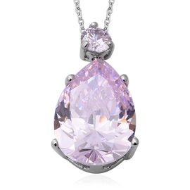 ELANZA Swiss Star Simulated  Pink Diamond Drop Pendant With Chain in Rhodium Plated Silver 18 Inch