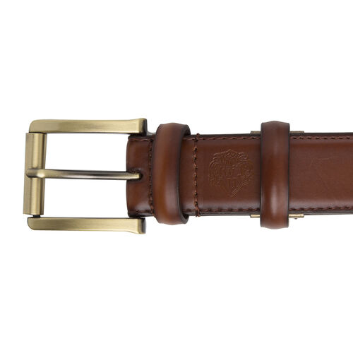 William Hunt - Traditional Buckle Leather Belt (Size 34 Inches) - Chestnut