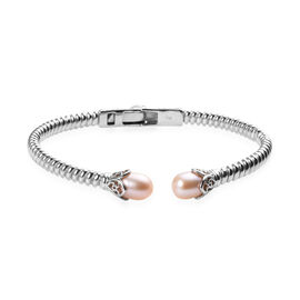 Freshwater Pink Pearl Cuff Bangle (Size 7.5) in Platinum Plated