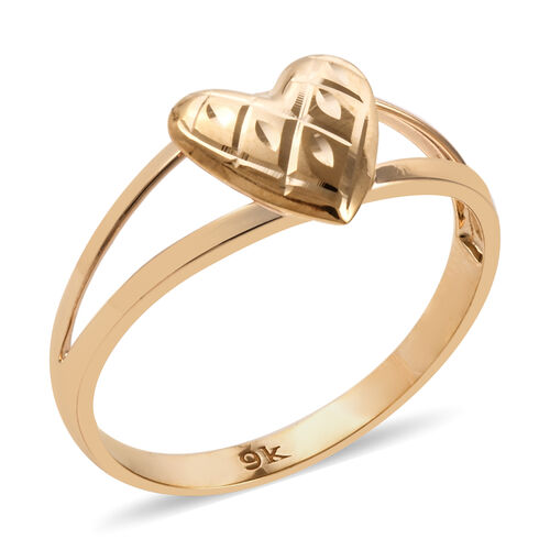 Royal Bali Collection 9K Yellow Gold Diamond Cut Heart Ring
