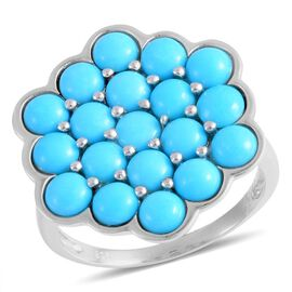 4.25 Ct Arizona Sleeping Beauty Turquoise Cluster Ring in Rhodium Plated Sterling Silver
