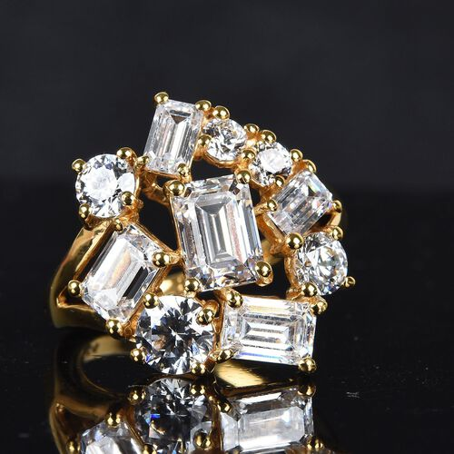 J Francis 14K Gold Overlay Sterling Silver Made with SWAROVSKI ZIRCONIA Cluster Ring 7.34 Ct.