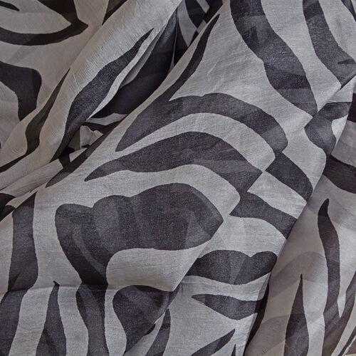 100% Mulberry Silk Black, White and Mustard Colour Zebra Printed Pareo (Size 180x100 Cm)