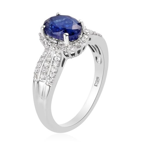 Masoala Sapphire and Natural Cambodian Zircon Ring in Platinum Overlay Sterling Silver 2.25 Ct.