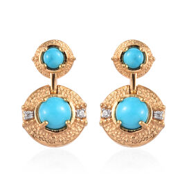 1.51 Ct Arizona Sleeping Beauty Turquoise and Zircon Drop Earrings in Gold Plated Sterling Silver