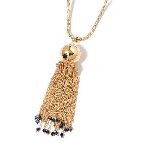Simulated Golden Pearl and Simulated Blue Diamond Tassels Pendant With Chain in Yellow Gold Tone
