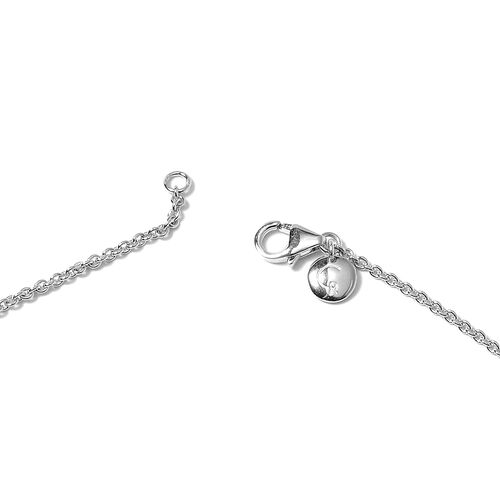 RACHEL GALLEY Heart Collection - Rhodium Overlay Sterling Silver Heart Station Necklace (Size 26), Silver wt 12.40 Gms