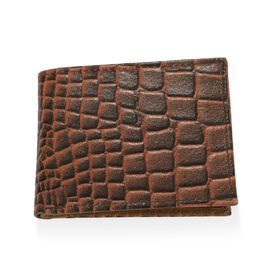 100% Genuine Leather Croc Embossed RFID Protected Bi-fold Wallet (Size 21x8.5 Cm) - Tan