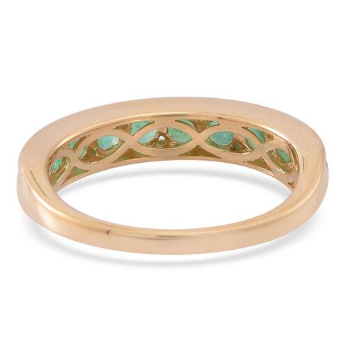 ILIANA 18K Yellow Gold AAA Kagem Zambian Emerald (Rnd) Half Eternity Band Ring 1.000 Ct.