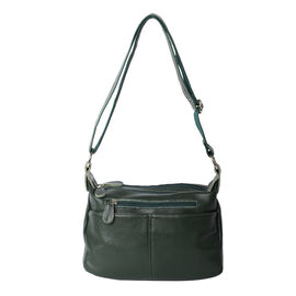 100% Genuine Leather Crossbody Bag with Multiple Pockets and Zipper Closure (Size 28x9x19 Cm) - Dark